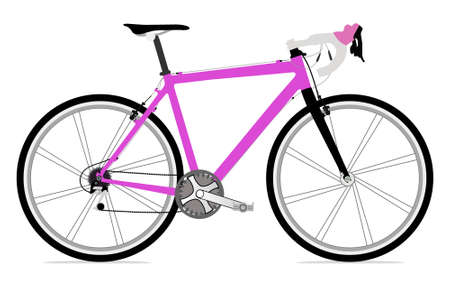 Single bicycle illustration icon with a lot of detail