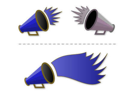 cheer leader: ilustraci�n vectorial de megafon�a shout-out en azul
