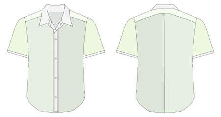 blue collar: vector illustration of Collar Dress Shirt In Blue Green Color Tones
