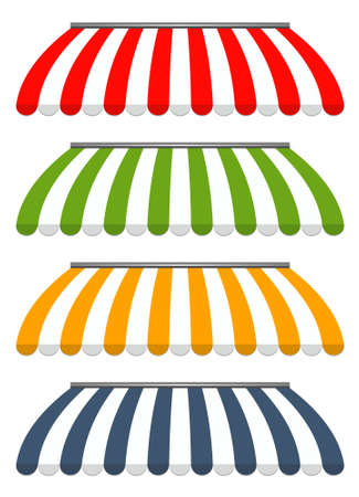 sunshades: vector illustration of four different colored vector awnings