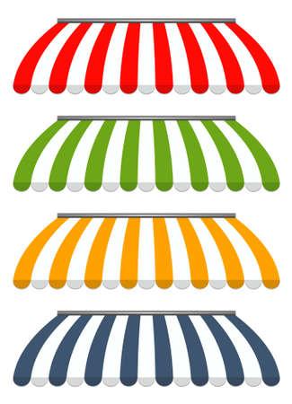 vector illustration of four different colored vector awnings Vektoros illusztráció