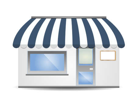vector illustration of Storefront Awning in blue Vector