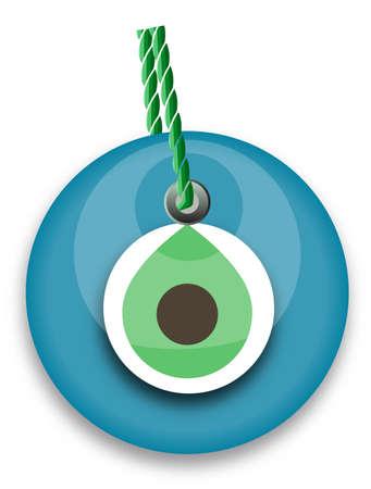 blue bead, worn to avert the evil eye Vector