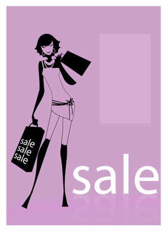 A young woman carrying shopping bags looking at an outdoor or shopping mall Vector