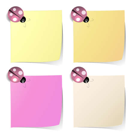 magnet: blank note paper in four colors like on classic fridge with ladybug magnet