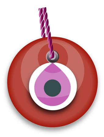 red bead, worn to avert the evil eye Vector