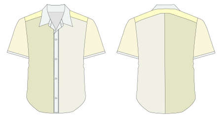 dress shirt: vector illustration of Collar Dress Shirt In Yellow Green Color Tones Illustration