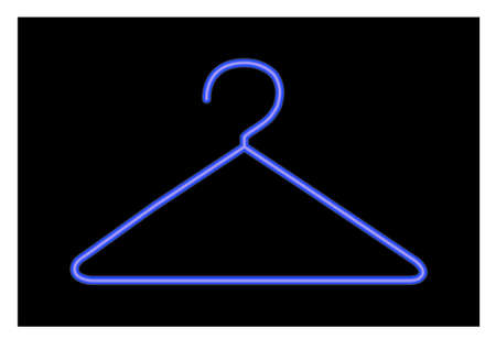 �back ground�: coat hanger illustration over black back ground in blue