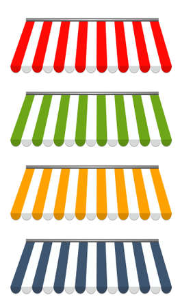 awnings: vector illustration of four different colored vector awnings