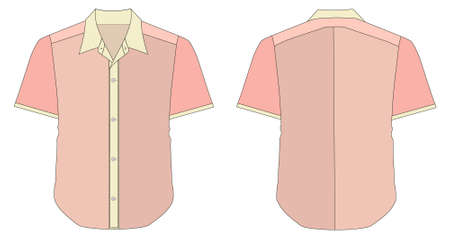 short sleeve: vector illustration of Collar Dress Shirt In Pink Red Color Tones