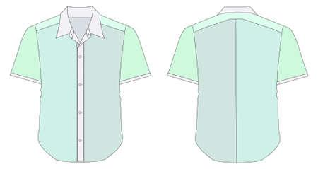 dress shirt: vector illustration of Collar Dress Shirt In Green Color Tones