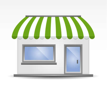 storefront: vector illustration of Storefront Awning in green