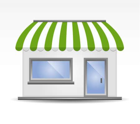 vectorillustratie van Storefront luifel in het groen