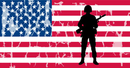 american flag with soldier and grunge effect Illustration