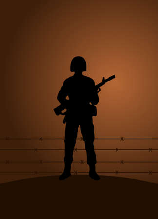 armed force: soldier with a gun standing up on a platform over sunset