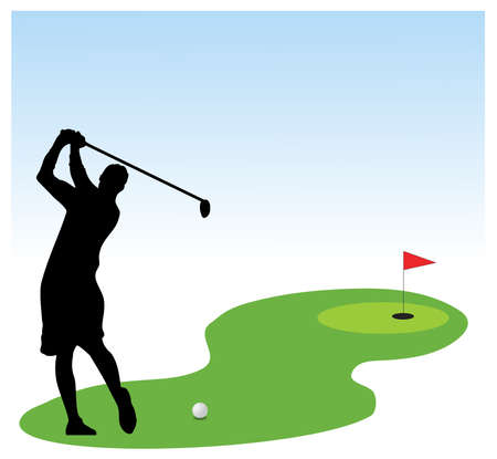 A golf player on golf field play ground Vector