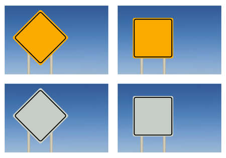 add text: a blank yellow grey road sign on blue sky background that you could add text to