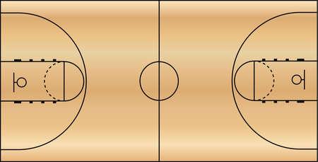terrain de basket: Basketball Court champ au sol
