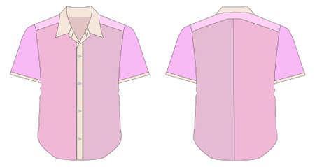 Collar Dress Shirt In Pink Color Tones Vector