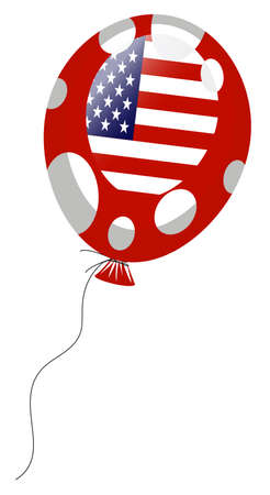 edit valentine: red balloon of american flag with white spots  Illustration