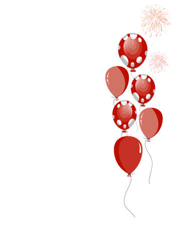 red party balloons with white spots Vector
