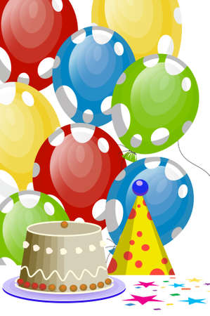 birthday balloons with white spots Vector