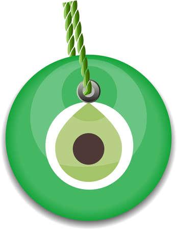 green bead, worn to avert the evil eye  Vector