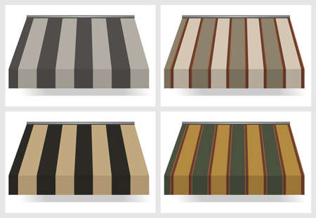 awnings: four different colored awnings
