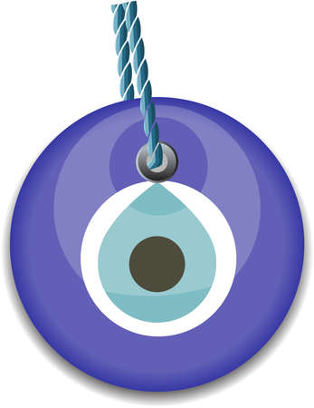 mischief: blue bead, worn to avert the evil eye Illustration