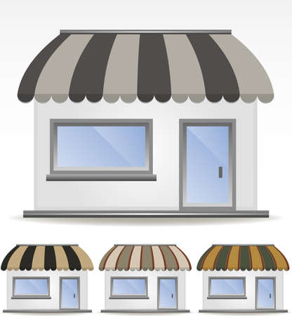 awnings: four different colored awnings  Illustration