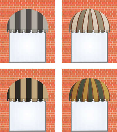four different colored awnings Vector