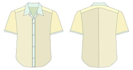 dress shirt: Collar Dress Shirt In Yellow Color Tones Illustration