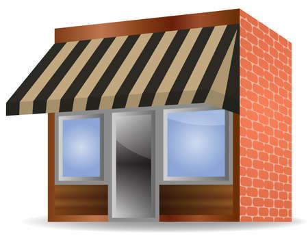 corner house:  illustration of Store Front Awning on white background