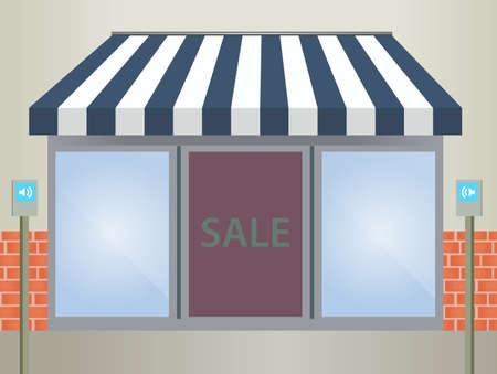 store window:   illustratie van Store front luifel in blauw Stock Illustratie