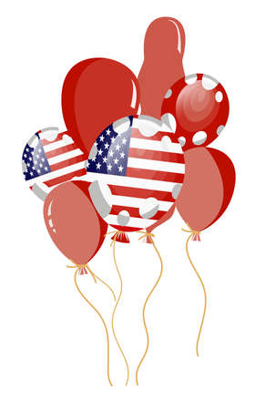 edit valentine:   illustration of red balloon of american flag with white spots  Illustration