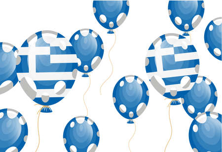 edit valentine:   illustration of blue balloon of greek flag with white spots Illustration