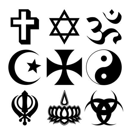 star and crescent:  illustration of nine different Religious symbols