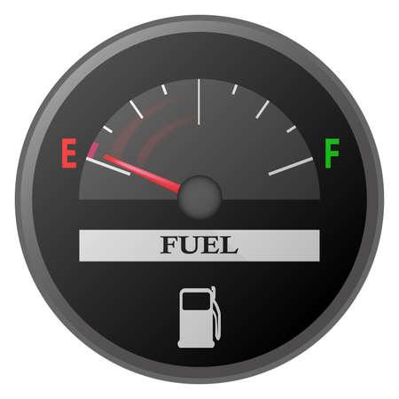sensores:   indicador de combustible de ilustraci�n de medidor de gasolina de placa de gui�n de coche, Vectores