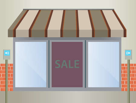 awnings:   illustration of four different colored  awnings  Illustration