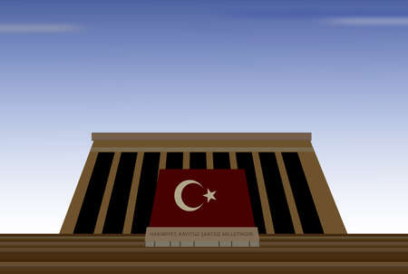 mausoleum:  illustration of mausoleum of mustafa kemal ataturk, father of turks, in capital city of ankara in turkey