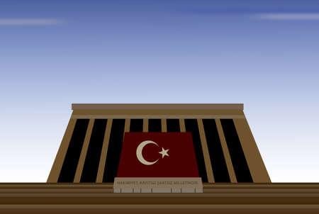 the turks:  illustration of mausoleum of mustafa kemal ataturk, father of turks, in capital city of ankara in turkey