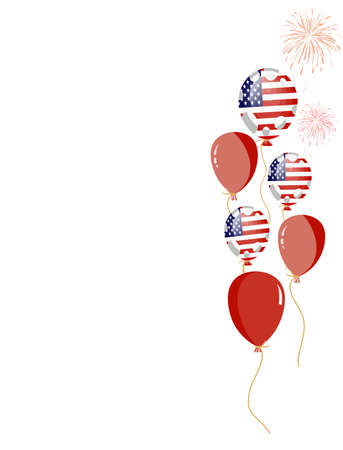 edit valentine:  illustration of red balloon of american flag with white spots