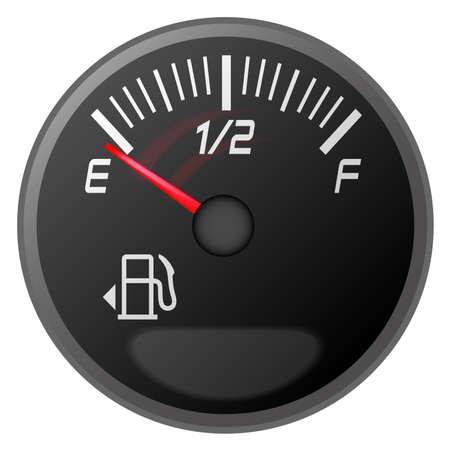 illustration of car dash board petrol meter, fuel gauge Vector