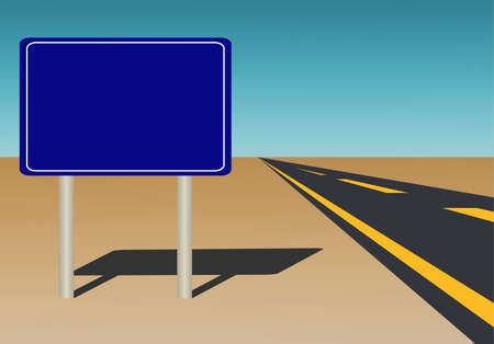 stealth:  Illustration of a blank road sign on blue sky background