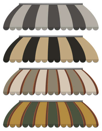 illustration of four different colored  awnings  Vector