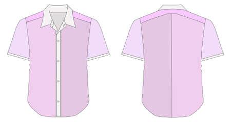 kurz: Illustration der Kragen Kleid Hemd In rosa Farbt�ne