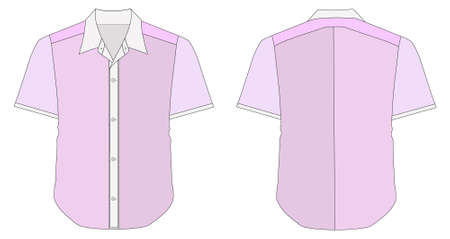 short back: illustration of Collar Dress Shirt In Pink Color Tones Illustration