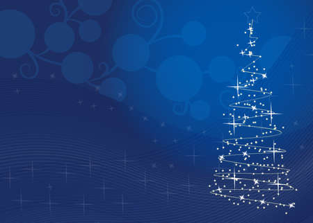 vector illustration of Christmas tree with snowflakes in blue  Vector