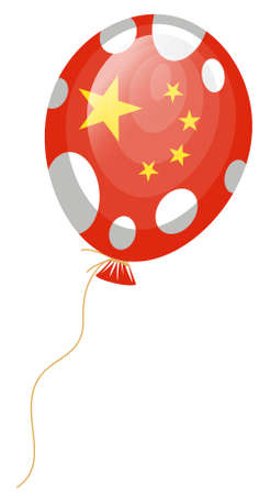 edit valentine: vector illustration of red balloon of chinese flag with white spots