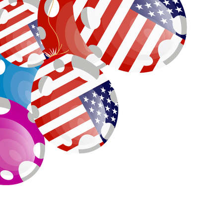 edit valentine: vector illustration of red balloon of american flag with white spots